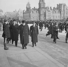Winston Churchill arrives outside the Canadian Houses of Parliament in Ottawa, Canada in 1941