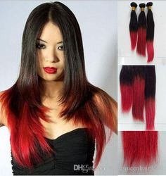 Online Cheap Brazilian Ombre Virgin Straight Hair Weave Two Tone 1b/Red Ombre Straight Human Hair Extensions Remy Straight Hair Bundles Free Shippin By Noblequeenhair9550 | Dhgate.Com