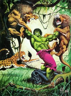 #Hulk #Fan #Art. (Hulk vs lions and panthers) By: JJ. (THE * 5 * STÅR * ÅWARD * OF: * AW YEAH, IT'S MAJOR ÅWESOMENESS!!!™)[THANK Ü 4 PINNING<·><]<©>ÅÅÅ+(OB4E)             https://s-media-cache-ak0.pinimg.com/564x/7a/61/57/7a6157f671122e785b7a79060379f2c1.jpg