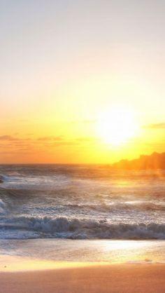 Rough Sea Beach Shining Sun #iPhone #5s #wallpaper