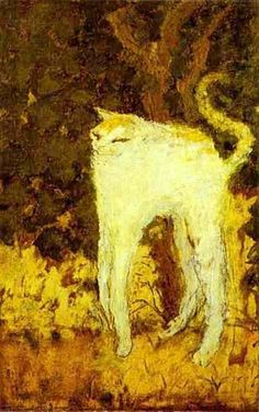 The White Cat, 1894 by Pierre Bonnard. Japonism. animal painting. Musée d'Orsay, Paris, France
