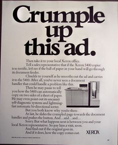 1979 XEROX 5400 Copier crumple up this ad Vintage Ad Ad Libs, Swipe File, Office Essentials, Old Ads, Copywriting, Vintage Ads, Book Design, Design Projects, Advertising