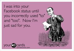 Funny Confession Ecard: I was into your Facebook status until you incorrectly used 'to' and 'too'. Now I'm just sad for you.