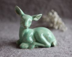 Ceramic Deer  Doe in Mint Green Glaze by GutenTagKeramik on Etsy