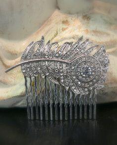 Peacock/rhinestone hair comb