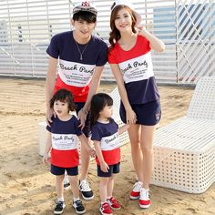 Kindstraum 2017 Family Matching Outfits Casual Father Mother Kids T-shirt+Shorts+Skirts Printed Summer Clothing Sets, Couple Outfits, Matching Family Outfits, Boy Outfits, Summer Outfits, Casual Outfits, Cute Family, Baby Family, Mother Father And Baby, Beach T Shirts