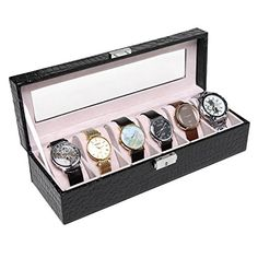 Black Crocodile Grain Faux Patent Leather 6 Suede Cushion Slot Watch  Jewelry Lock  Key Organizer Box ** This is an Amazon Affiliate link. Details can be found by clicking on the image.