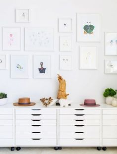 Inside This Fashion Illustrator's Airy, Light-Filled L. Apartment IKEA drawer units lined up next to each other make stylish storage for Kuhn's artwork.IKEA drawer units lined up next to each other make stylish storage for Kuhn's artwork. Home Office Design, Home Office Decor, Home Decor, Office Ideas, Office Setup, Ikea Alex Drawers, Decoration Inspiration, Style Inspiration, Decor Ideas