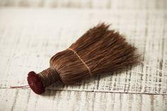Mini Vintage Whisk Broom with Velvet Button Top