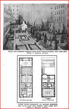 courtyard and floorplan, Bayard Dominick Jr residence, 115 E. 54th st NYC.. Architect Wm F. Dominick Jr