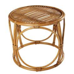BOHEME varnished wicker side table