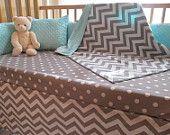 Custom Baby Boy Bedding - Blanket, Crib Skirt & Sheet - Pale Aqua Grey