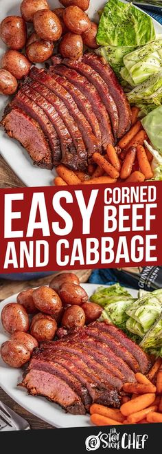 Youve never had corned beef and cabbage so tender and juicy! This will knock your socks off! Add the cabbage potatoes and carrots and youve got yourself your new favorite Irish meal! Slow Cooker Corned Beef, Corned Beef Brisket, Corned Beef Recipes, Slow Cooker Recipes, Crockpot Recipes, Cooking Recipes, Cabbage And Potatoes, Corn Beef And Cabbage, Cabbage Recipes
