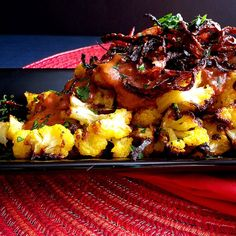 Recipe for golden roasted cauliflower with tahini + fried onions....simply delicious!!!