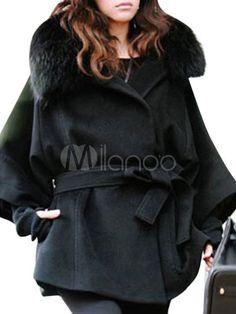 4e7af837828fe Black Long Sleeves Faux Fur Collar Hooded Coat - Milanoo.com Manteau  Capuche Fourrure,
