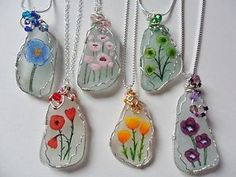 Hand-painted-POPPY-sea-glass-necklaces-Swarovski-Miyuki-beads-Sterling-silver