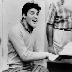 "Elvis Presley in the studio recording for ""King Creole"" in 1958."