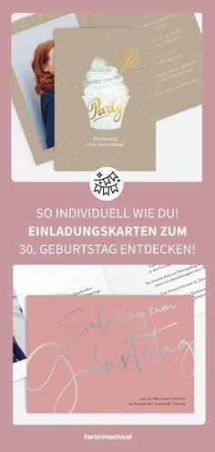 So großartig sind individuelle & moderne Einladungskarten für deinen 30. Geburtstag! Lade mit hochwertigen und modernen Einladungskarten deine Gäste zu deiner Geburtstagsfeier ein. Lass dich von kreativen Designs und witzigen Ideen für deine Einladung inspirieren. Gestalte deine Einladungskarte zum 30. Geburtstag jetzt ganz einfach online und überrasche deine Liebsten. #kartenmacherei #geburtstag Designs, Creative, Party, Movie Posters, Invitation Birthday, Simple, Film Poster, Parties, Billboard