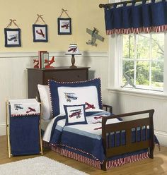 Red, White and Blue Vintage Aviator Airplane Toddler Bedding - 5 pc set - Click to enlarge