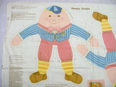 Humpty Dumpty Pillow, Cut Sew and Stuff Fabric Panel, Fabric Panel, Humpty Dumpty Cut and Sew Doll - pinned by pin4etsy.com
