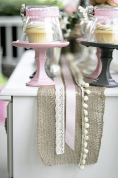 love the burlap and ribbon table runner