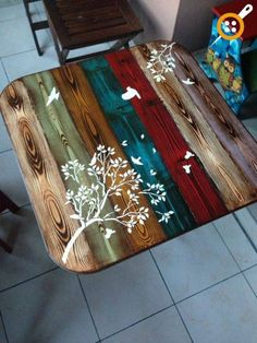 Ideas For Natural Wood Table Top Furniture Painted Table Tops, Painted Kitchen Tables, Painted Coffee Tables, Painted Picnic Tables, Hand Painted, Paint Furniture, Furniture Makeover, Furniture Ideas, Repurposed Furniture