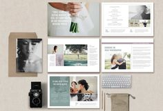 """Wedding Photographer Magazine Send clients your pricing and information about your photography business in the form of a beautiful magazine! With professionally written text along with customizable fonts & colors, you'll have a versatile package to deliver to your clients as a digital guide or as a beautifully printed 8.5""""x 11"""" welcome packet."""