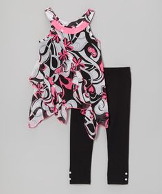 Loving this Pogo Club Black & Pink Tilly Sue Pucci Tunic & Leggings - Toddler & Girls on #zulily! #zulilyfinds