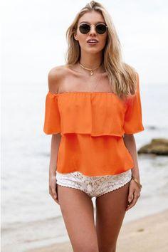 Strapless Pure Color Chiffon Falbala Sexy Beach Blouse