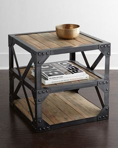 I like the industrial look.  Sebastian+Side+Table+at+Horchow.