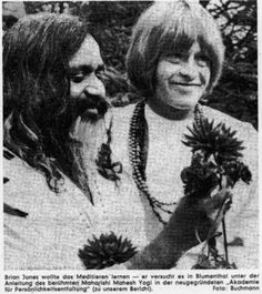 Brian Jones of the Rolling Stones smiling with the Maraheshi Yogi- The Beatles temporary guru, Brian was always searching for spiritual fulfillment. He was even reading the Bible in the last months of his life.