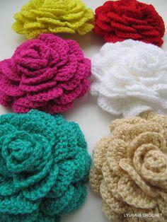 Crochet Rose Flower, Wite Crochet Rose Flower Brooch, Beautiful Crochet Roses 3D Flowers, Cyprus Crochet Lyubava.