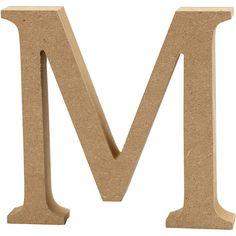 Bogstav, H: 13 cm, mdf, M