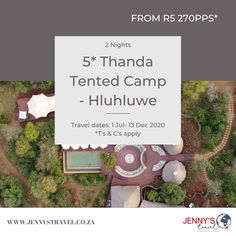 Escape to the spectacular 5* Thanda Tented Camp in Hluhluwe from R5 270pps*  Included:  2 Nights' accommodation at the 5* Thanda Tented Camp Breakfast, lunch and dinner daily Selected local beverages (soft drinks, house wines, local spirits and beers)  BONUS: Minibar Two game drives per day with professional guide and tracker  Contact us to book or to find out more on info@jennystravel.co.za or 012 347 8891 *T's & C's apply Travel Specials, Travel Dating, Wines, How To Find Out, Beverages, How To Apply, Lunch, Camping, Game