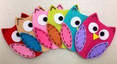 Set of 6pcs handmade felt owlmix color FT722 by AsecInc on Etsy, $6.00