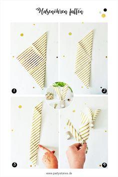 Servietten für Ostern als Hasenohren falten - so einfach aus Papierservietten Hasenohren falten, perfekt für DIY/Upcycling Serviettenringe. // Anleitung für Falttechnik und Serviettenringe/Eierbecher aus alten Papierrollen mit Watte von partystories.de // #Ostern #Osterparty #Osternfeiern #Osterbrunch #diydeko #partystyling Diy Upcycling, Playing Cards, Decorating Ideas, Creative, Egg Cups, Playing Card Games, Game Cards, Playing Card