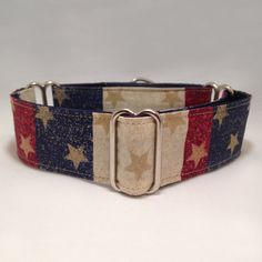 1.5 inch Martingale Collar Red Blue Beige with Gold Stars Patriotic Fourth of July Martingale Collar by fabcollarhounds