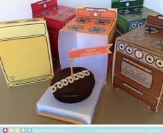 Retro Oven - Autumn Collection FIVE bun in the oven cupcake box kit, party favor box/gift card holder - Printable PDF kit - INSTANT download...