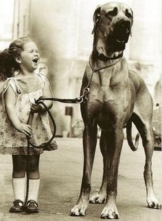 Girl with Great Dane