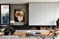 Stone Benchtop, Timber Battens, Interior Architecture, Interior Design, Interior Styling, Open Fireplace, Brickwork, Open Plan Kitchen, Open Plan Living