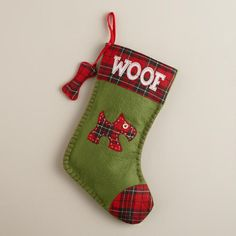 Cost Plus World Market's adorable Woof Pet Stocking is a perfect gift for dog lovers. Pet Christmas Stockings, Pet Stockings, Christmas Sewing, Christmas Dog, Christmas Crafts, Burlap Projects, Dog Lover Gifts, Dog Lovers, Scottie Dog