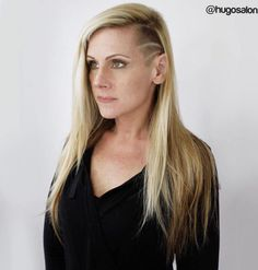 Long Blonde Hairstyle With Temple Undercut