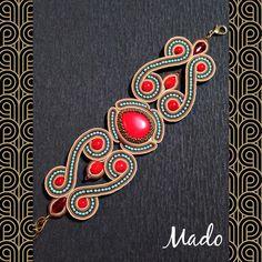 Shared from Pinster Soutache Bracelet, Soutache Jewelry, Beaded Jewelry, Shibori, Soutache Tutorial, Hand Art, Bead Weaving, Beaded Embroidery, Handmade Necklaces