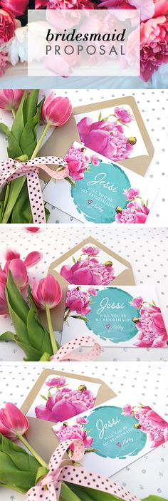 Teal & Fuchsia Will You Be My Bridesmaid Card