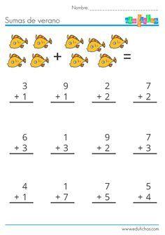 sumas para verano  http://www.edufichas.com/actividades/matematicas/sumas/hojas-sumas-verano/  #fichas #verano #peces #vacaciones #matematicas
