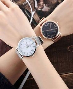 Vansvar Brand Fashion Silver And Gold Mesh Band Creative Marble Wrist Watch Casual Women Quartz Watches Gift Relogio Feminino Cool Watches, Watches For Men, Women's Watches, Wrist Watches, Watches Online, Popular Watches, Jewelry Watches, Ladies Watches, Smartwatch