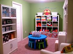 It's important to have lots of storage space in the playroom. Kids need to be able to organize their toys after they're finished playing with them. Also, try to save as much space as possible. For example, notice here that the stools are hidden under the table and they free up floor space when not used.{found on iheartorganizing}. 35 Colorful Playroom Design Ideas