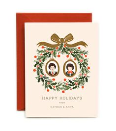 CUSTOM ILLUSTRATED Holiday Wreath Cards