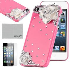 Pandamimi ULAKTM Luxury Bling Rhinestone Sweety Girls Fashion Hard Case Cover for iPhone 5 5s with Screen Protector (Rose/Flower) ULAK http://www.amazon.com/dp/B00FDMQ4ZU/ref=cm_sw_r_pi_dp_OMReub163SQPV