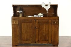 A rustic country pine dry sink from about 1880 has an excellent restored finish that preserves lots of antique character - losses, stains and mars. Swedish Kitchen, Dry Sink, Primitive Kitchen, Kitchen Furniture, Decoration, Country Decor, Liquor Cabinet, Pine, Rustic